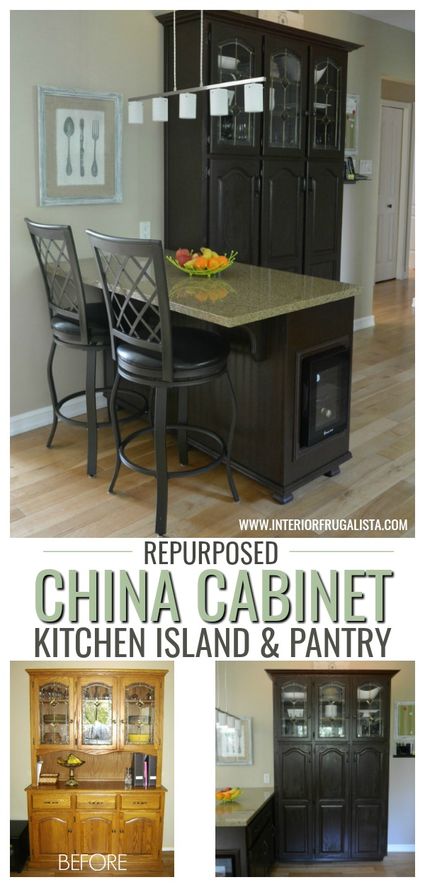 A clever China Cabinet Hack! How to repurpose a small dining hutch into a kitchen pantry AND small kitchen island for a budget kitchen makeover idea. #chinacabinethack #dininghutchhack #repurposedfurniture