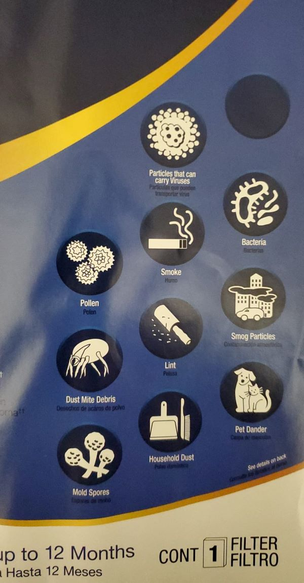 Air filter labels that can remove viruses, pollen, smoke and more