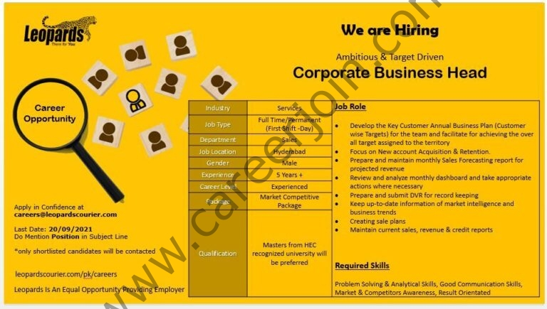 careers@leopardscourier.com - Leopards Courier Jobs 2021 in Pakistan