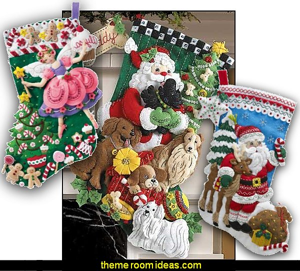 Christmas Stocking Sugar Plum Fairy Christmas Stocking pets paws Christmas Stocking santa