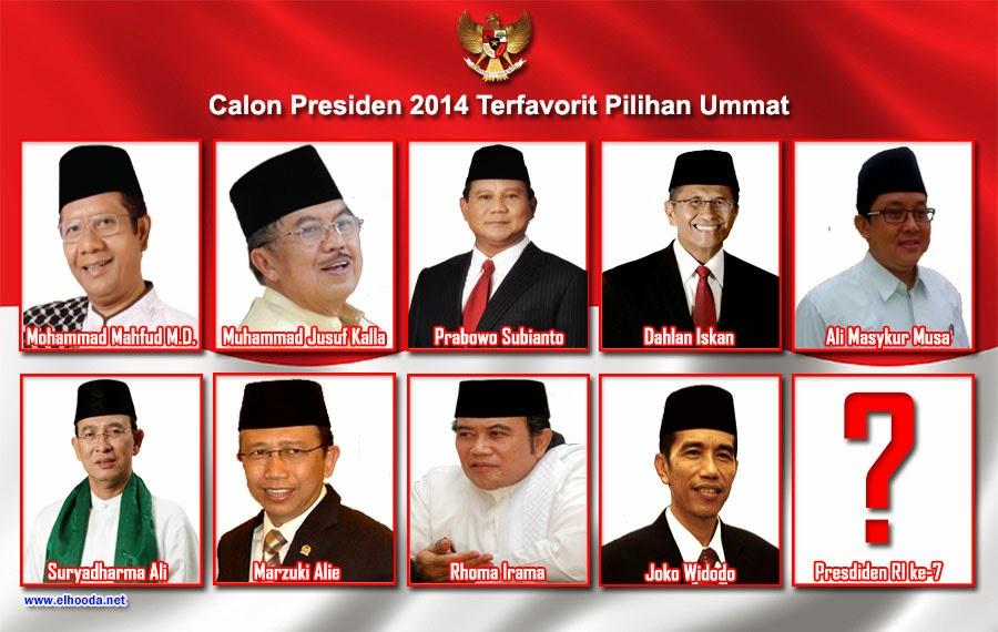 Daftar Nama Capres 2014 Pilihan Umat Muslim Indonesia
