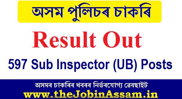 Assam Police Sub Inspector Result 2020