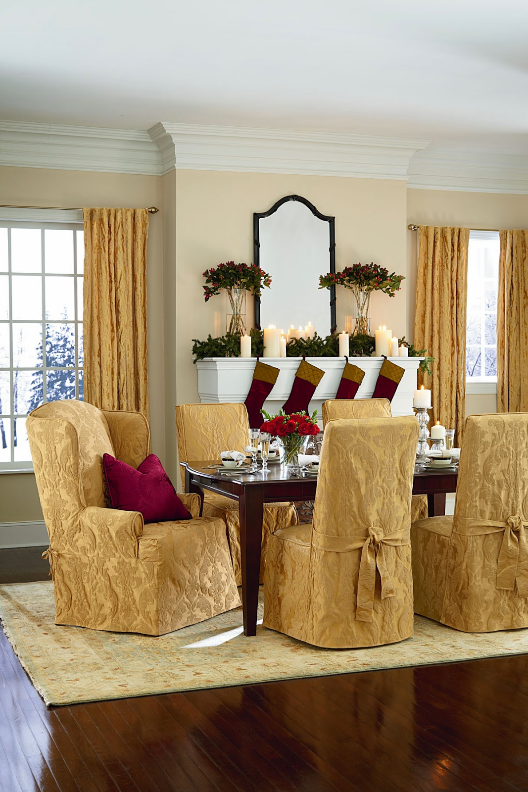 xmas dining room chair covers rent tables and chairs nj sure fit slipcovers 39tis the season to entertain in style
