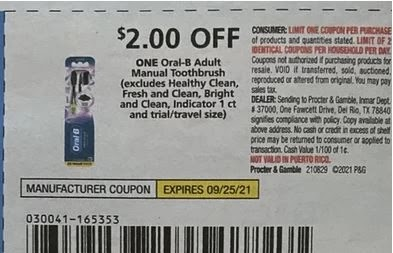 """$2.00/1 Crest Toothbrush Coupon from """"PG"""" insert week of 8/29/21."""