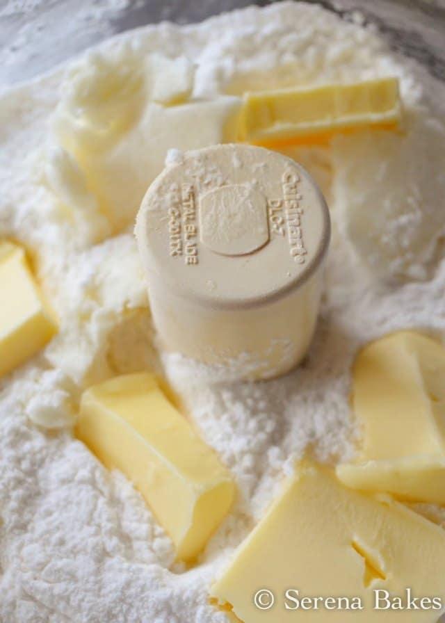 Butter with Gluten Free Flour in food processor to make Gluten Free Pie Crust Recipe.