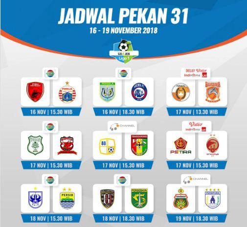 Jadwal Liga 1 2018 Pekan 31