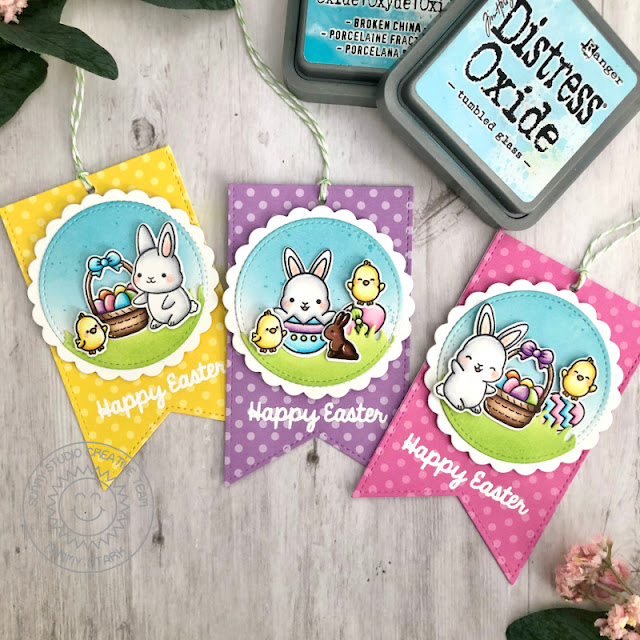 Sunny Studio Stamps: Scalloped Circle Mat Dies Slimline Dies Chubby Bunny Easter Tags by Tammy Stark