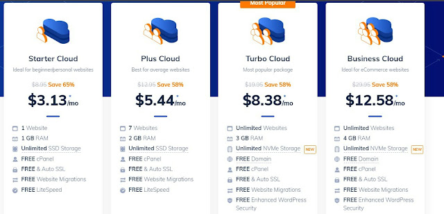 NameHero shared hosting plan pricing of their Starter, Plus, Turbo and Business plan