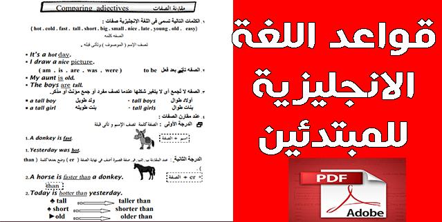تلخيص قواعد اللغة الانجليزية للمبتدئين PDF في 25 صفحة