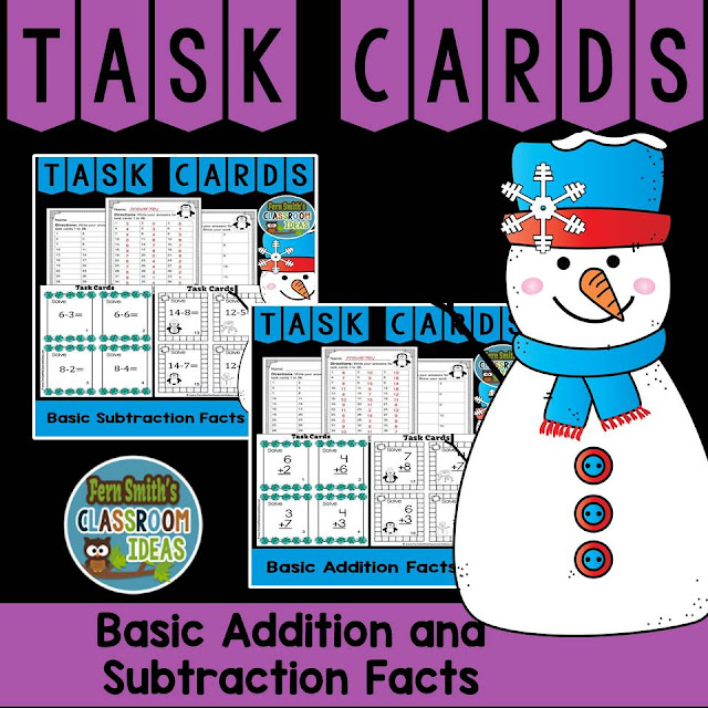 Winter Addition and Subtraction Task Cards