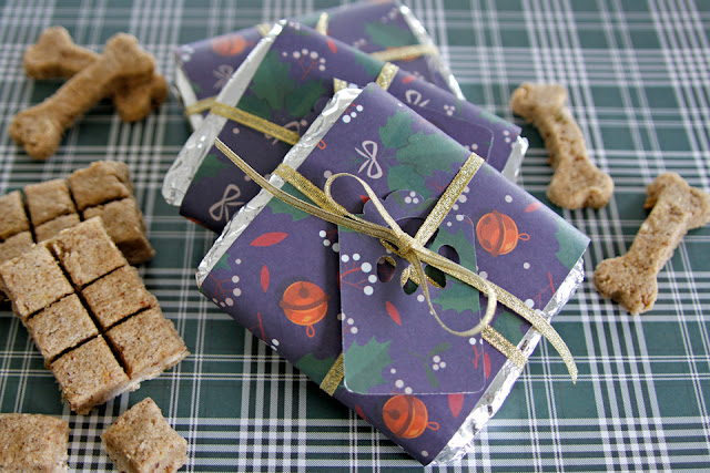 DIY segmented bar dog treats with homemade Christmas wrappers
