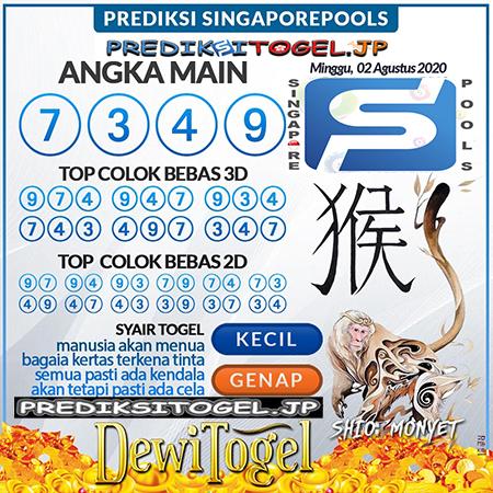 Prediksi Dewi Togel Singapura SGP Minggu 02 Agustus 2020