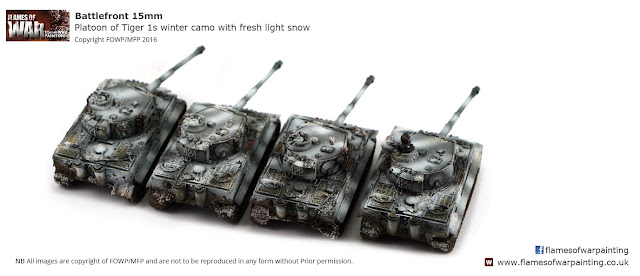 Platoon of Tiger 1s winter camo with fresh light snow 15mm Battlefront Flames of War-rear view