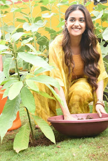 Keerthy Suresh in Yellow Dress with Cute and Awesome Lovely Smile While Planting a Plant 1