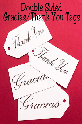 Say thank you in English and Spanish with this double sided thank you tag perfect for your gift giving any time of the year.  Simply print one side, then the other, and cut for the perfect double sided printable thank you tag.  #thankyou #printabletag #thankyoutag #diypartymomblog