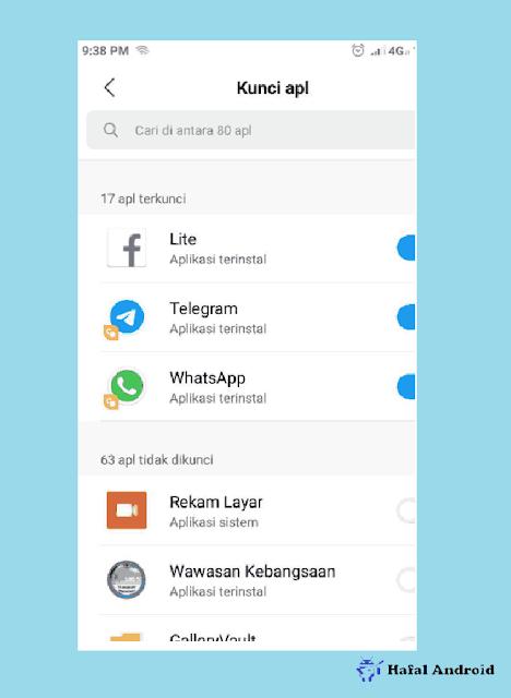 Geser Hidupkan Tanda Biru Aplikasi Yang Ingin Dikunci