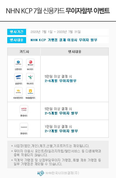 ▲ NHN KCP 07월 신용카드 무이자할부 이벤트