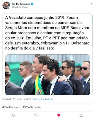 Twitter de Bolsonaro a respeito de Moro
