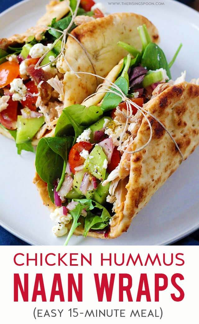 An easy chicken wrap recipe you can throw together in just 15 minutes for a quick & healthy dinner or lunch. Featuring simple ingredients like shredded chicken, hummus, chopped fresh veggies, a homemade red wine vinaigrette, and crumbled cheese all piled onto a piece of soft & chewy naan bread (Indian flatbread). Fix this on a busy weeknight or prep it for the week ahead for grab & go meals.