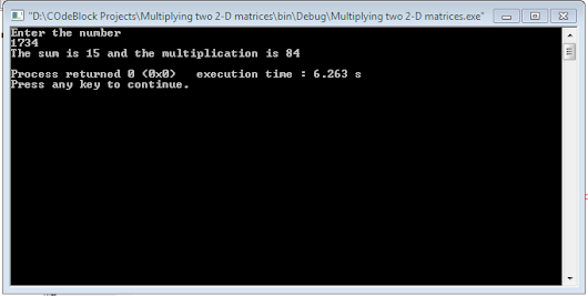 C++: Program to Add and Multiply the digits of a Number