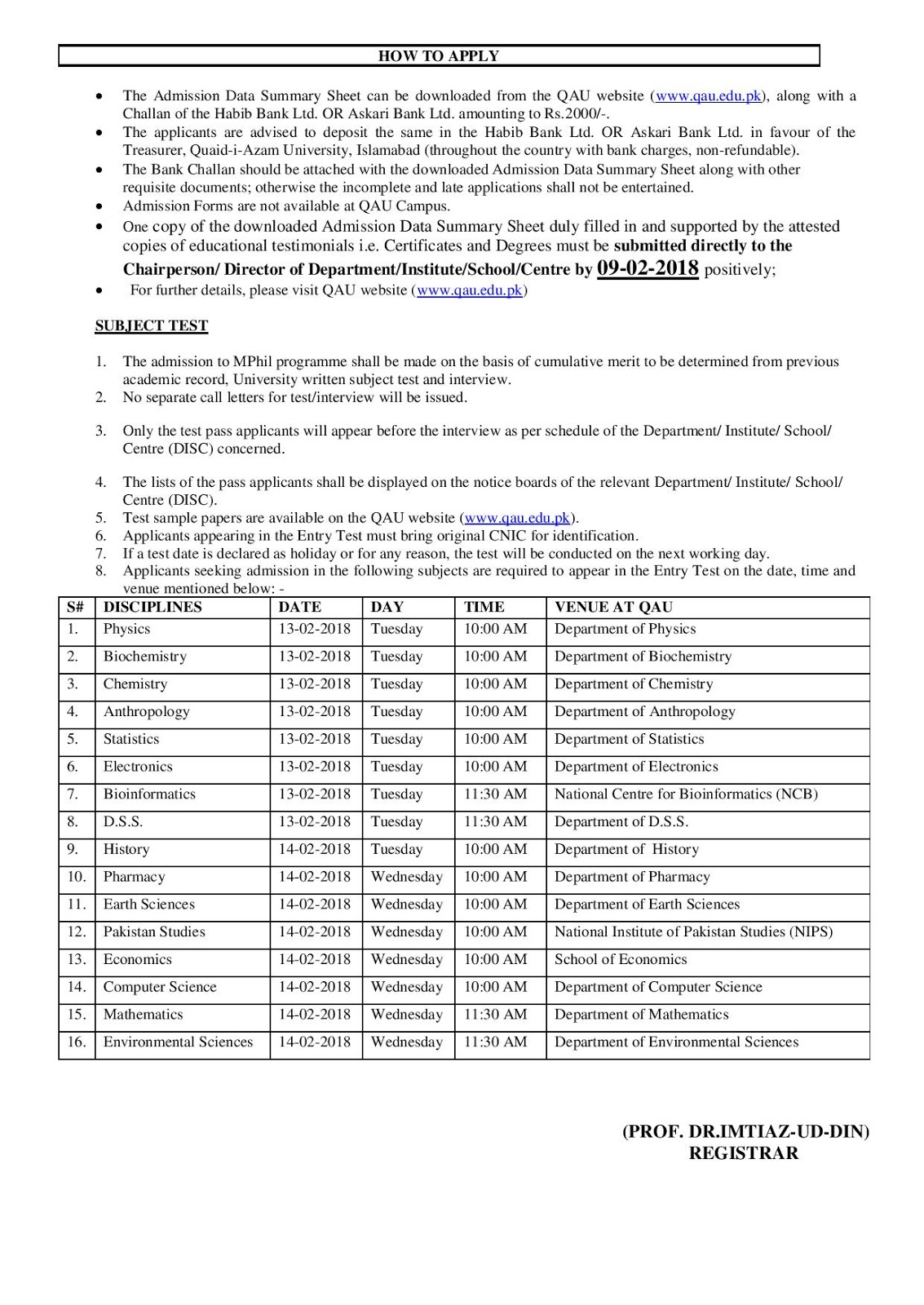 mphilnotice-page-003 Qau Degree Application Form on dept chmistry, bba department, it department, university logo, islamabad logo, earth science, fee structure for bs, itt dr names, faculty male, dr amena zubari, closing merit, islamabad round area, faculty female,