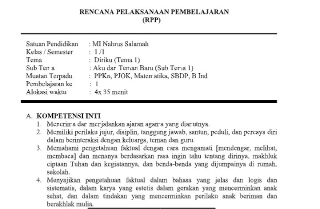 Download RPP Tematik Kelas 1 Tema 1 Kurikulum 2013 Edisi Revisi (Update)