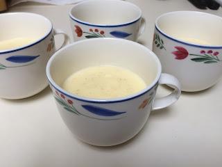 Mandarin-nutmeg custard in teacups