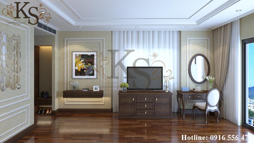 Hình ảnh: Thiết kế nội thất phòng ngủ đôi khách sạn tiện nghi bao gồm tủ đồ, ti vi, bàn trang điểm và không gian nghỉ ngơi thoải mái.