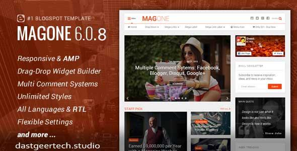 MagOne - Responsive News & Magazine Blogger Template v 6.6.8