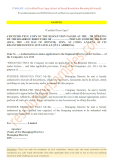 format of certified true copy of board resolution as per companies act 2013