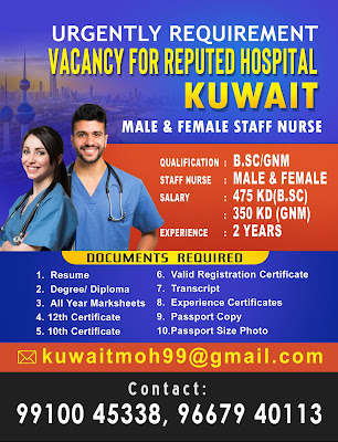Urgently Required Male & Female Staff Nurses for Reputed Hospital In Kuwait