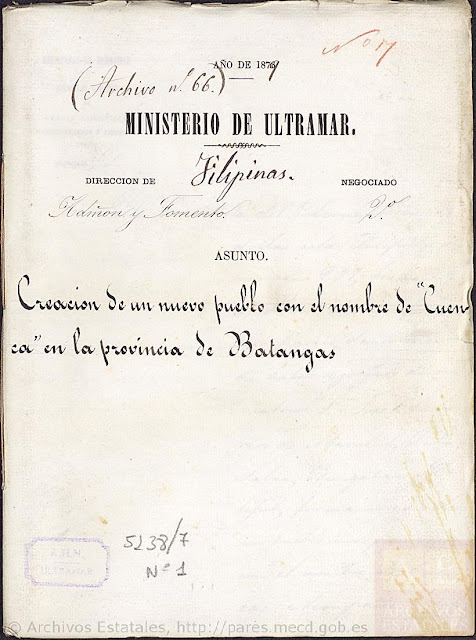 Title page, Creation of the New Pueblo of Cuenca.