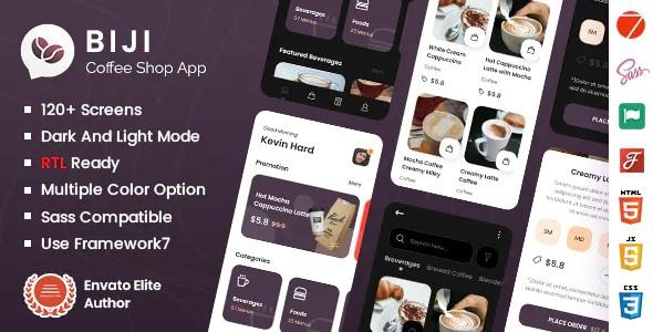 Best Coffee Shop Mobile App Framework7 Template