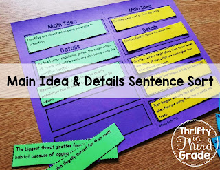 Main Idea and Details can be hard to teach! This activity has students sort sentences and use higher order thinking skills to determine the main idea and key details. There are ways to differentiate for multiple grade levels.