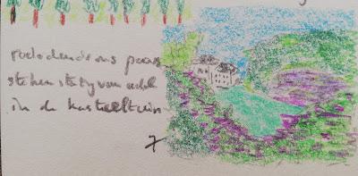 Rododendrons voor kasteel Pijnenburg tekening met haiku