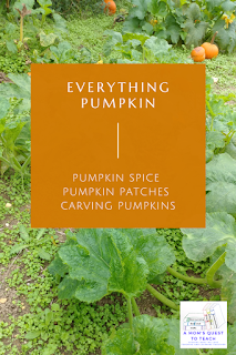 Text: Everything Pumpkin - Pumpkin Spice, Pumpkin Patches, Carving Pumpkins; A Mom's Quest to Teach Logo; background image of pumpkin patch