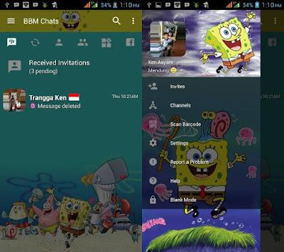 Download BBM MOD Spongebob Versi Terbaru v3.2.5.12 APK Transparan Theme