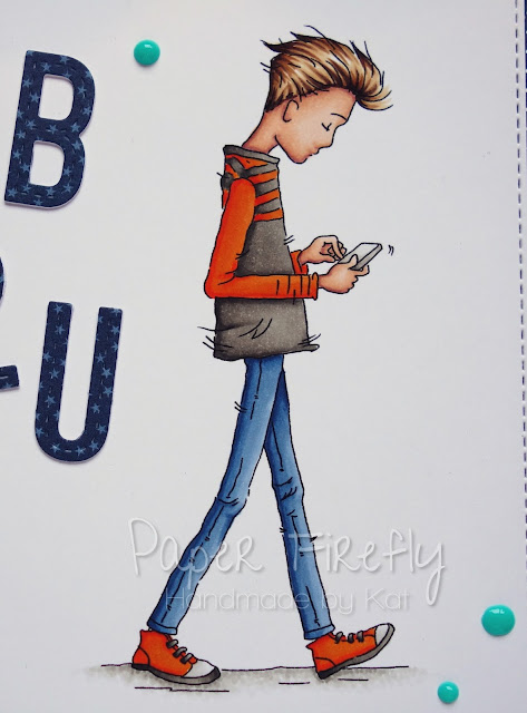 Stylish modern boys birthday card using Oliver Texting by Lili of the Valley