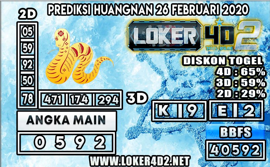PREDIKSI TOGEL HUANGNAN LOKER4D2 26 FEBRUARI 2020
