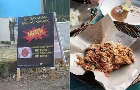 Promosi Ayam Geprek Gratis Makan, Tulisan Kecilnya Bikin Netizen Geram