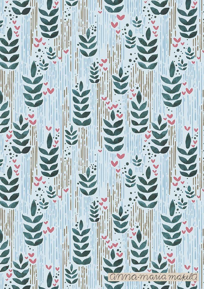 Kuosisuunnittelu, Anna-Maria Mäkelä, Annan tirpat, kukkakuosi, kangaskuosi, sininen ,luonto vesivärit