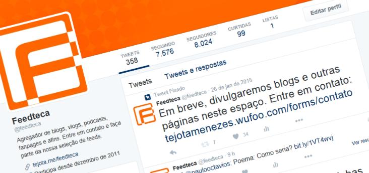 Capa do Feedteca, agregador de blogs do Twitter