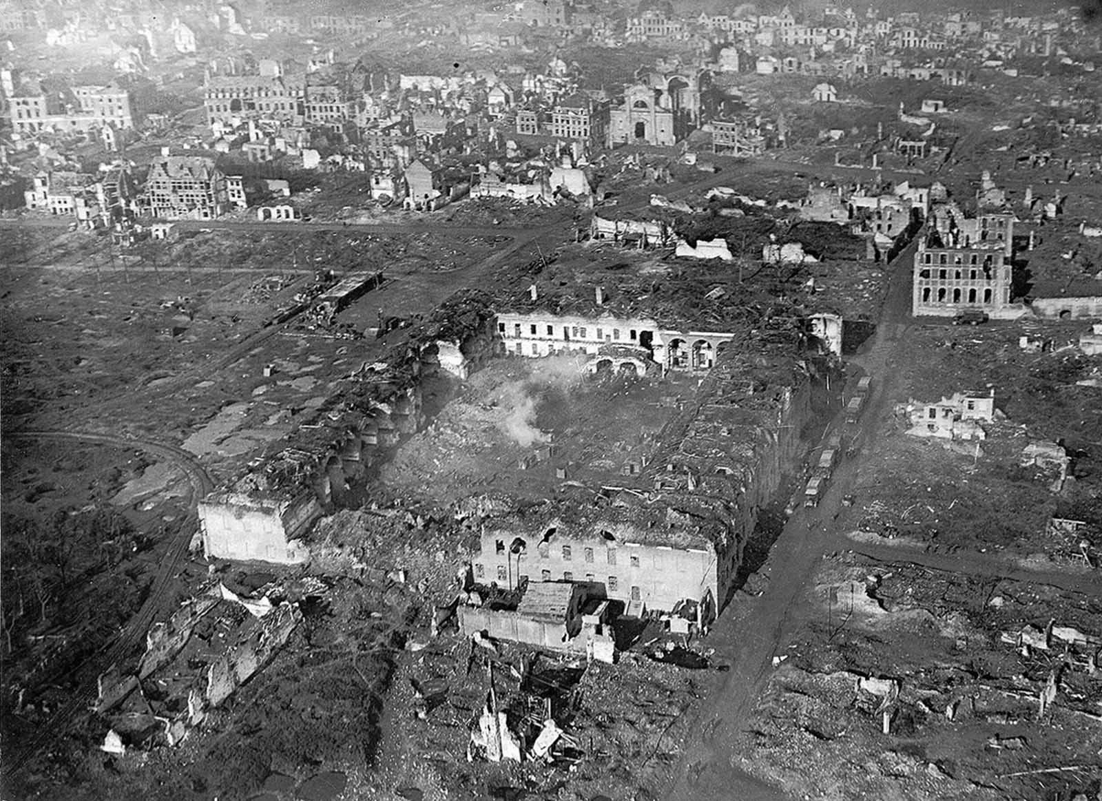 The bombarded barracks at Ypres, viewed from 500 ft.