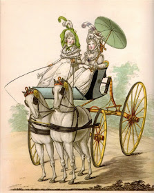 Ladies in a phaeton  from Gallery of Fashion by Nikolaus von Heideloff (1794)