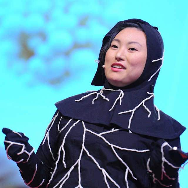 Jae Rhim Lee on stage at TED Global 2011