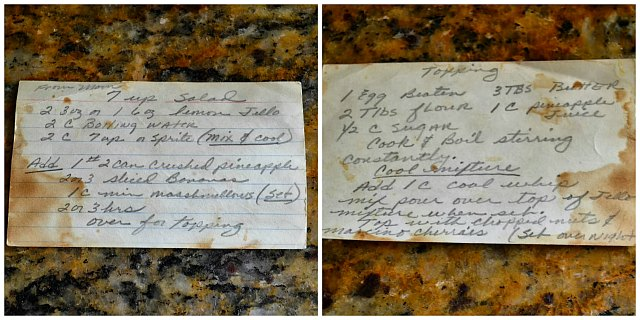 7up Jello Salad recipe card from my Mother-In-Law. A favorite recipe for Thanksgiving and Christmas from Serena Bakes Simply From Scratch.
