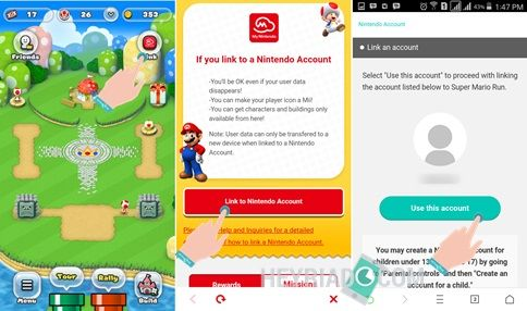 Tautkan game super mario run