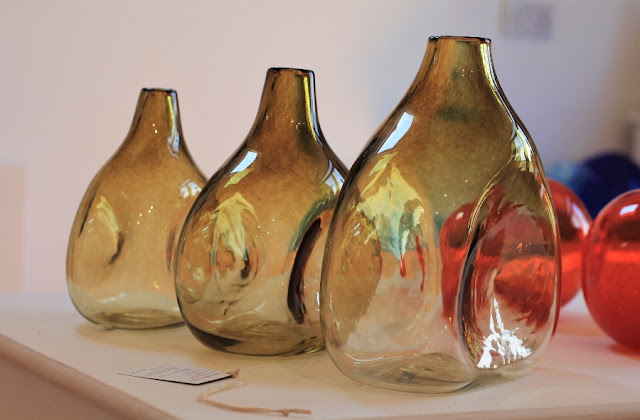 Three Amber Vases Jerpoint Glass