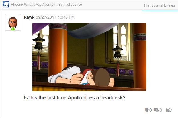 Phoenix Wright Ace Attorney Spirit of Justice Apollo headdesk