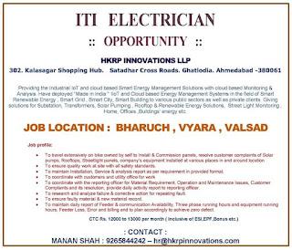 ITI Electrician Job Vacancy in Bharuch, Vyara, Valasad Location For Company Hkrd Innovations LLP